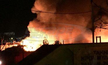 Φωτιά και εκρήξεις σε αποθήκη ελαστικών - Κόλαση πυρός στον Ταύρο!