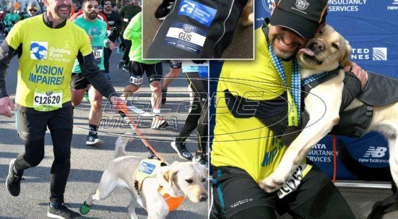 Τυφλός δρομέας ολοκλήρωσε τον ημιμαραθώνιο της Νέας Υόρκης με τη βοήθεια τριών σκύλων και έγραψε ιστορία
